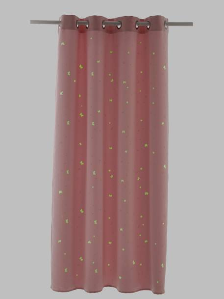 Glowing Opaque Curtain PINK LIGHT ALL OVER PRINTED - vertbaudet enfant