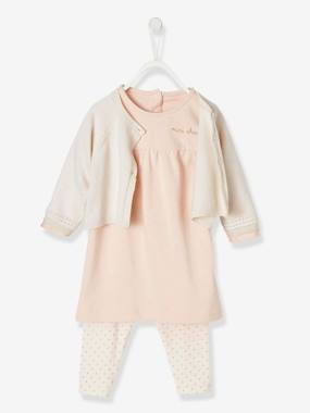 Vertbaudet Collection-Baby-Dresses & Skirts-Dress + Cardigan + Leggings Outfit, for Newborn Babies