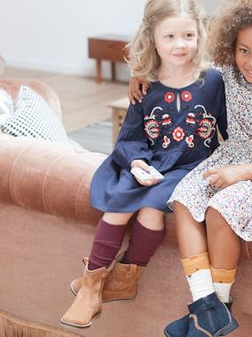 Vertbaudet Collection-Girls-Dresses-Embroidered Dress, for Girls