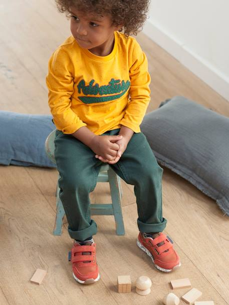 MEDIUM Hip, Straight Leg MorphologiK Trousers for Boys BLUE DARK SOLID+BLUE DARK SOLID WITH DESIGN+GREEN MEDIUM SOLID+GREY DARK SOLID+YELLOW DARK SOLID WITH DESIGN - vertbaudet enfant