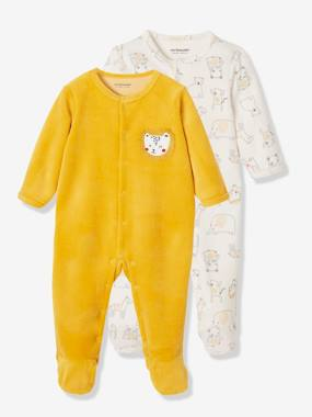 Vertbaudet Collection-Baby-Pack of 2 Velour Sleepsuits for Newborn Babies, Front Opening