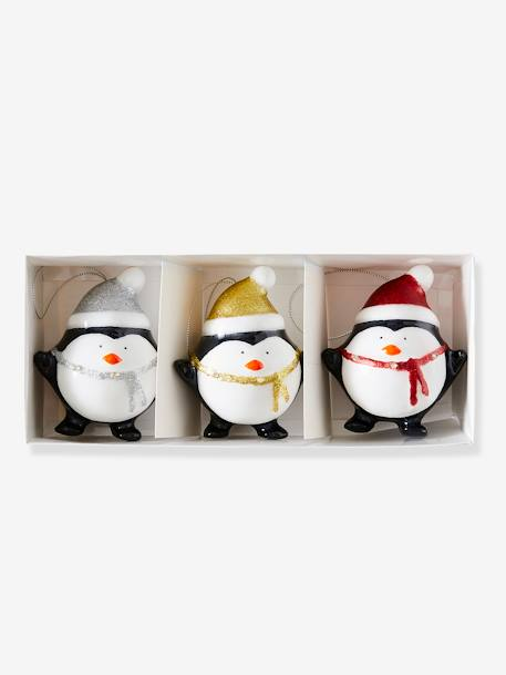 Set of 3 Light Up Penguins BLACK DARK 2 COLOR/MULTICOL - vertbaudet enfant