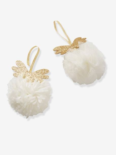 Set of 2 Pompons to Hang on Christmas Tree WHITE LIGHT SOLID WITH DESIGN - vertbaudet enfant