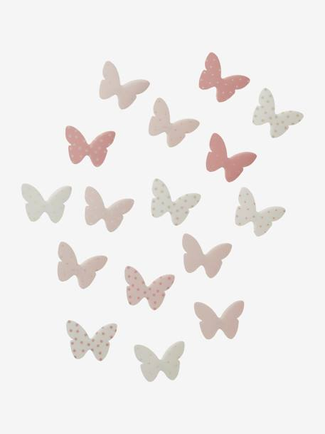 Pack of 14 Butterfly Decorations Muticolour+PINK LIGHT ALL OVER PRINTED - vertbaudet enfant
