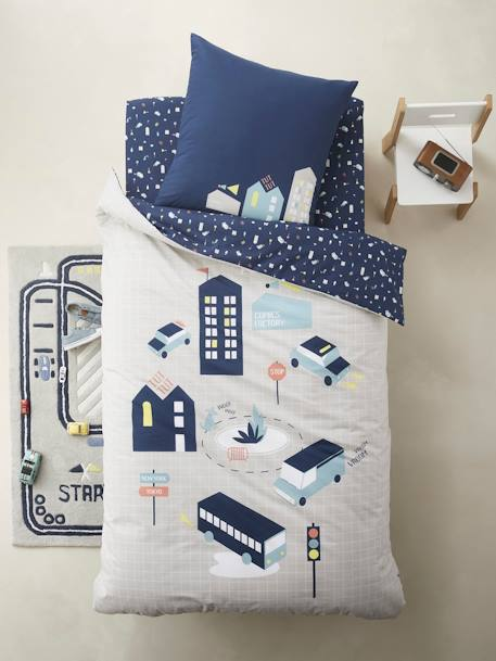 Children's Duvet Cover + Pillowcase Set, CITY GREY MEDIUM SOLID WITH DESIGN - vertbaudet enfant