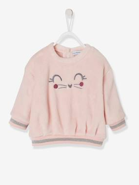 Baby-Jumpers, Cardigans & Sweaters-Sweaters-Plush Sweatshirt, for Baby Girls