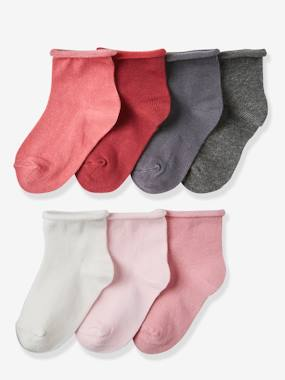 Vertbaudet Basics-Girls-Pack of 7 Pairs of Socks, for Girls
