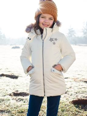 Girls-Long Parka, with Hood & Applied Stars, for Girls