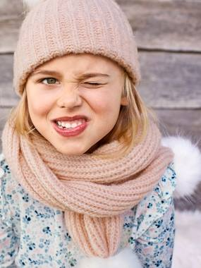 Girls-Accessories-Winter Hats, Scarves, Gloves & Mittens-Scarf with Faux Fur Pompons, for Girls