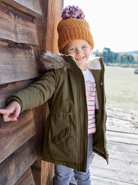 Girls-Coats & Jackets-Parka with Hood & Iridescent Patch, for Girls