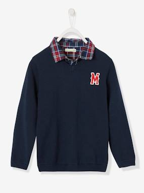 Vertbaudet Collection-Boys-Jumper with Shirt Collar, 2-in-1 Effect for Boys