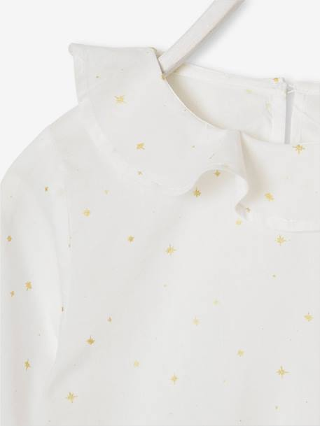 Blouse with Ruffled Neckline & Iridescent Stars, for Girls BLUE DARK ALL OVER PRINTED+WHITE LIGHT ALL OVER PRINTED - vertbaudet enfant