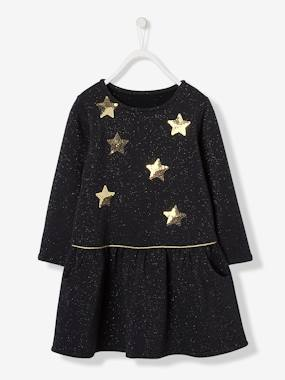 Vertbaudet Collection-Girls-Iridescent Fleece Dress with Sequinned Stars for Girls