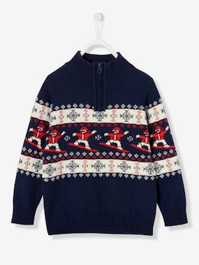 Black Friday-Boys-Jacquard Jumper with Zip on Neckline, for Boys