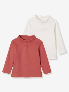 Baby-T-shirts & Roll Neck T-Shirts-Pack of 2 High Neck Tops for Baby Girls