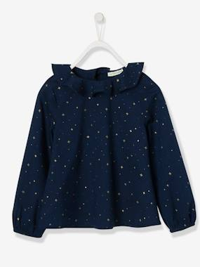 Vertbaudet Collection-Girls-Blouses, Shirts & Tunics-Blouse with Ruffled Neckline & Iridescent Stars, for Girls