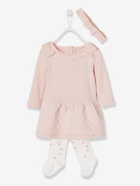 Baby-Dresses & Skirts-Fleece Dress + Headband + Tights Outfit, Special Occasion Wear, for Babies