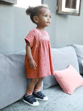 Baby-Dresses & Skirts-Linen & Cotton Embroidered Dress, for Baby Girls