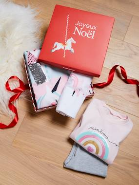 Gift boxes-Gift Box with Bed Set + Pyjamas, Magical Unicorns