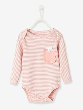 Baby-Bodysuits & Sleepsuits-Long-sleeved Bodysuit in Pure Cotton, for Babies