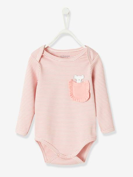 Long-sleeved Bodysuit in Pure Cotton, for Babies BLUE DARK STRIPED+PINK LIGHT STRIPED - vertbaudet enfant
