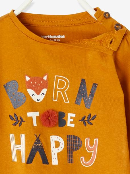 Stylish Top with Message, for Baby Girls BROWN LIGHT SOLID WITH DESIGN - vertbaudet enfant