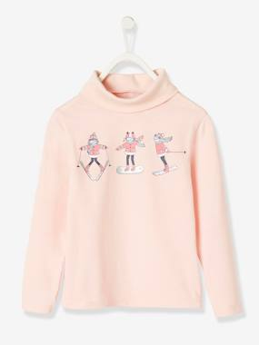 Vertbaudet Collection-Girls-Tops-Roll-Neck Top with Little Skier, for Girls