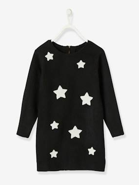 Vertbaudet Collection-Girls-Dresses-Sweater Dress with Iridescent Stars, for Girls
