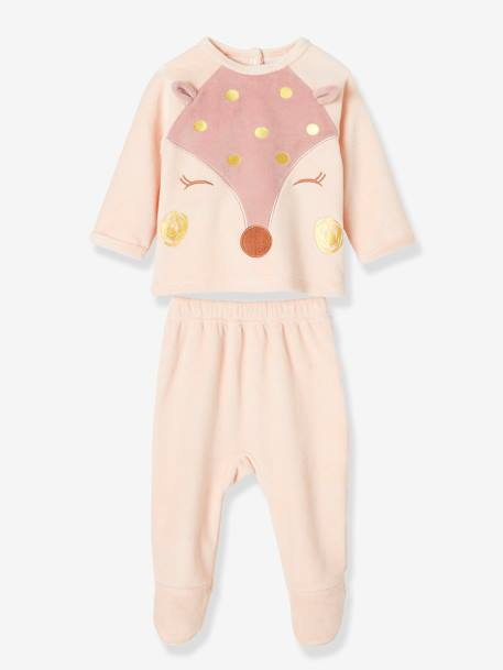 Lot de 2 pyjamas 2 pièces bébé en velours MARRON CLAIR SAME AS SWATCH -+ROSE - 14-1309 TCX - ECRU AOP - vertbaudet enfant