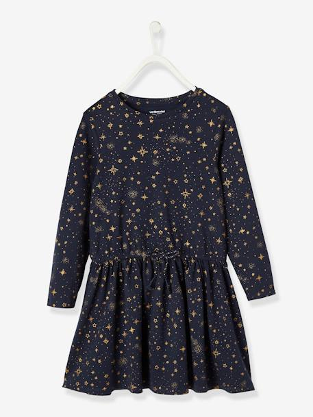 Printed Dress, for Girls BLACK DARK ALL OVER PRINTED+BLUE DARK ALL OVER PRINTED+RED DARK ALL OVER PRINTED - vertbaudet enfant