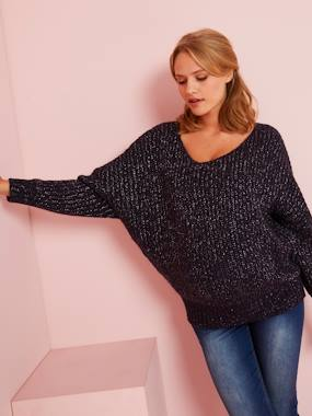 Maternity-Knitwear-Maternity Jumper in Shimmery Yarn