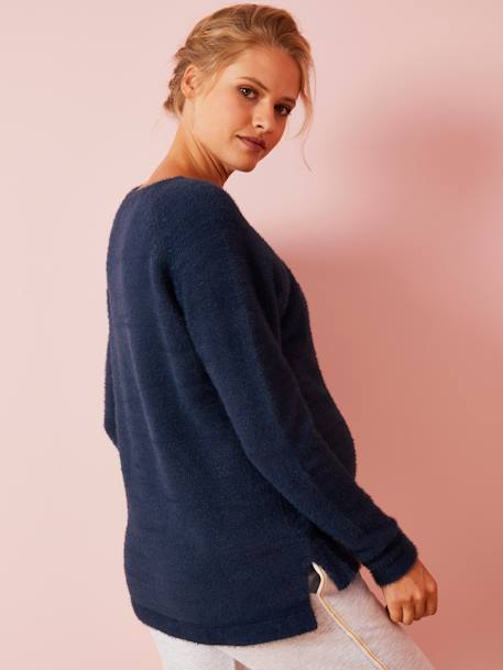 Adaptable Maternity Jumper with Zip on Shoulders BLUE DARK SOLID - vertbaudet enfant
