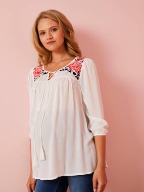 Maternity-Blouses, Shirts & Tunics-Embroidered Maternity Blouse