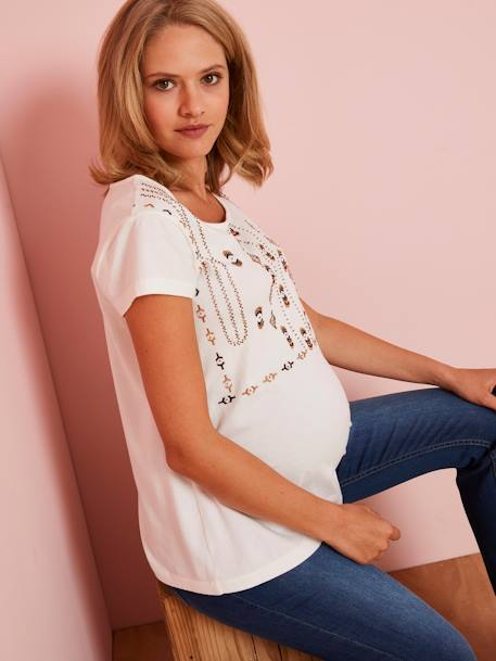 T-Shirt Embroidered with Beads, for Maternity BEIGE DARK SOLID WITH DESIGN+BLACK DARK SOLID WITH DESIGN - vertbaudet enfant