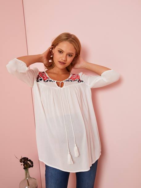 Embroidered Maternity Blouse WHITE LIGHT SOLID WITH DESIGN - vertbaudet enfant