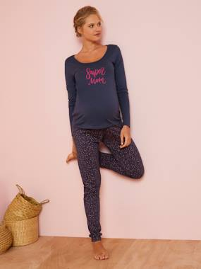 Maternity-Nightwear & Loungewear-Pyjama Top + Bottoms, for Maternity