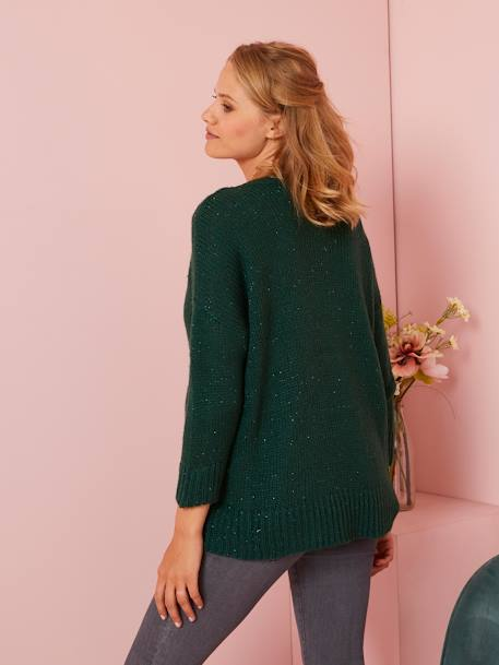 Maternity Jumper with Shimmery Yarn GREEN DARK SOLID+PINK MEDIUM SOLID - vertbaudet enfant