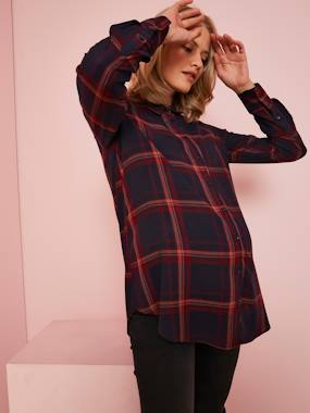 Maternity-Blouses, Shirts & Tunics-Checked Shirt for Maternity