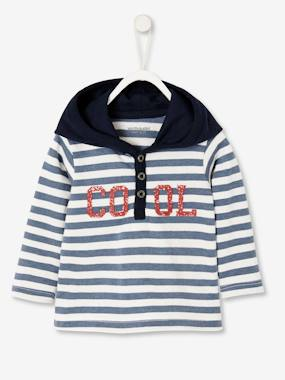 Baby-T-shirts & Roll Neck T-Shirts-Striped Hoodie for Baby Boys
