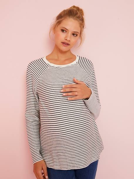 Sailor-style Jumper, for Maternity & Nursing WHITE LIGHT STRIPED - vertbaudet enfant