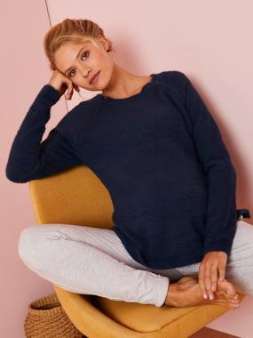 Maternity-Knitwear-Adaptable Maternity Jumper with Zip on Shoulders