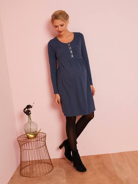 Slub Jersey Knit Dress, for Maternity BLUE DARK SOLID+BROWN MEDIUM SOLID - vertbaudet enfant