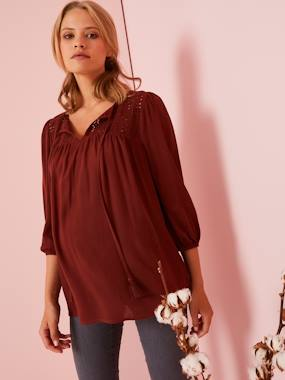 Maternity-Blouses, Shirts & Tunics-Maternity Blouse with Openwork on the Front