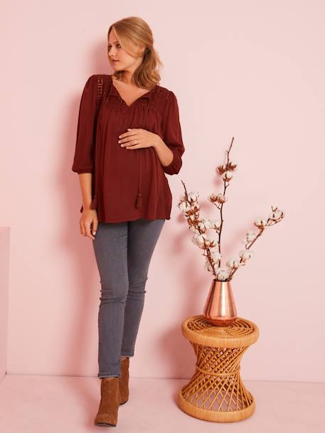 Maternity Blouse with Openwork on the Front BROWN DARK SOLID - vertbaudet enfant