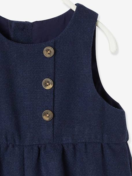 Jumpsuit in Woollen Fabric, for Baby Girls BLUE DARK SOLID - vertbaudet enfant