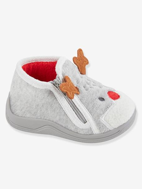 Zipped Slippers for Baby Boys GREY LIGHT SOLID WITH DESIGN - vertbaudet enfant