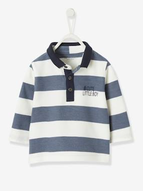 Baby-T-shirts & Roll Neck T-Shirts-Striped Polo Shirt for Baby Boys, Piqué Knit