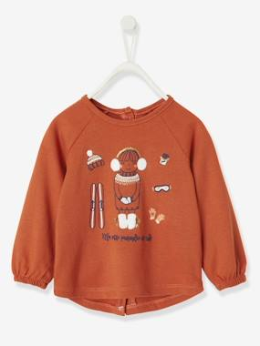 Baby-T-shirts & Roll Neck T-Shirts-Top with Decorative Appliqués, for Baby Girls