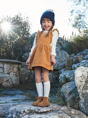Vertbaudet Collection-Girls-Dresses-Corduroy Pinafore Dress & Embroidered Top Ensemble for Girls