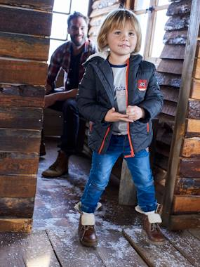 Vertbaudet Collection-Boys-Hooded Jacket with Fancy Patches, for Boys
